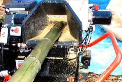 シュレッダーの挿入口にさし込まれ粉砕中の太い孟宗竹